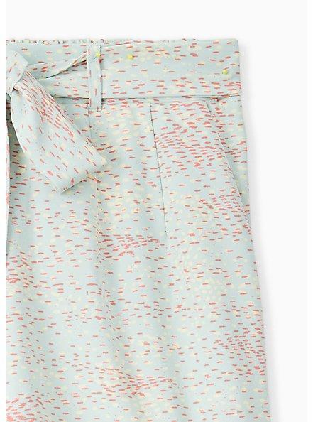 Plus Size Tie Front Mid Short - Crepe Multi Dots & Mint Blue , DOT TEXTURE, alternate