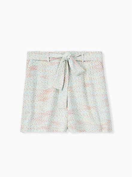 Plus Size Tie Front Mid Short - Crepe Multi Dots & Mint Blue , DOT TEXTURE, hi-res