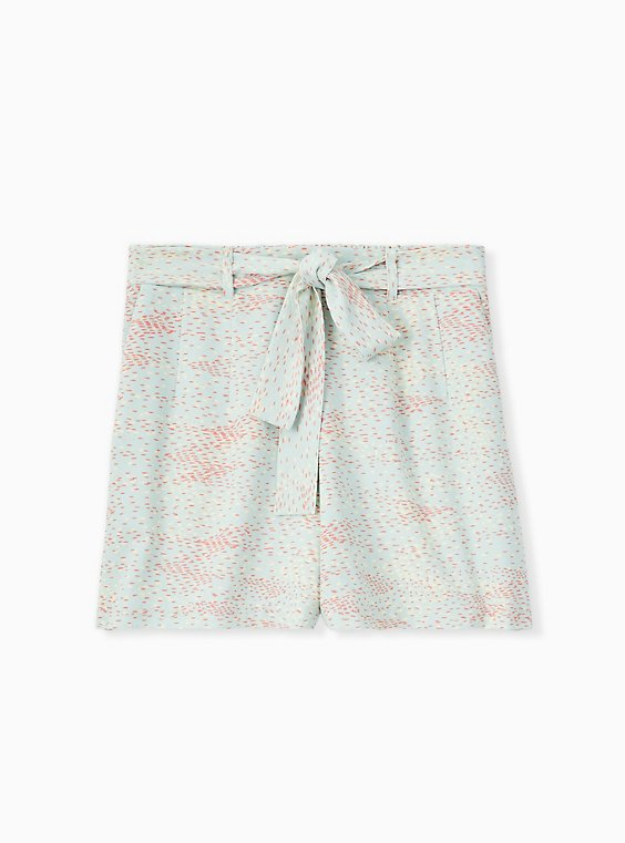 Tie Front Mid Short - Crepe Multi Dots & Mint Blue , , hi-res