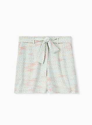 Tie Front Mid Short - Crepe Multi Dots & Mint Blue , DOT TEXTURE, hi-res