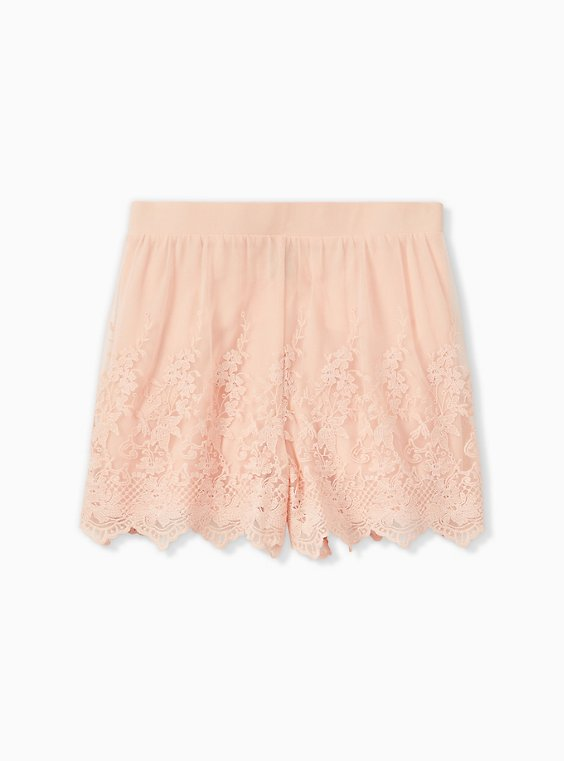 Light Pink Mesh Embroidered Short, , hi-res