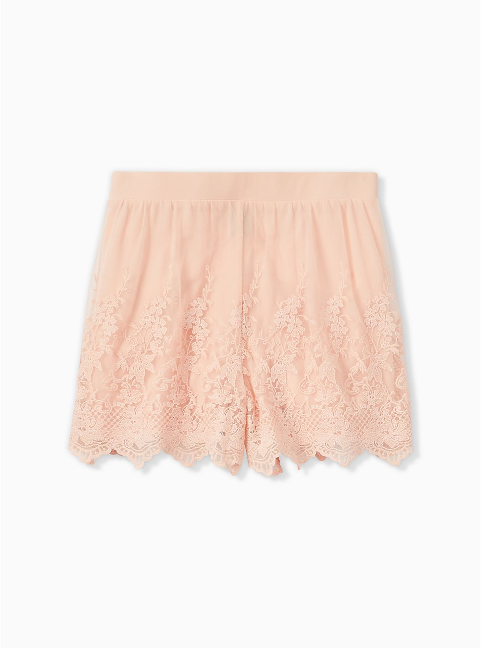 Light Pink Mesh Embroidered Short, PINK, hi-res