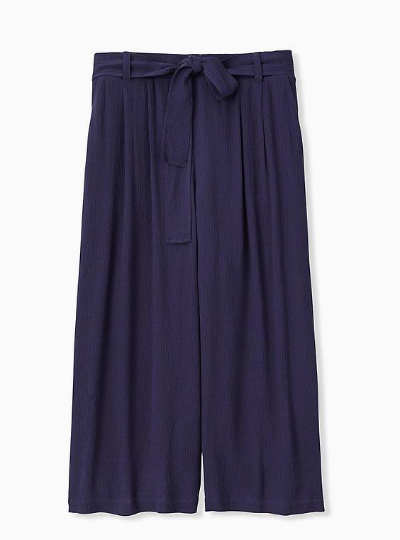 Plus Size Navy Crinkle Gauze Self Tie Culotte Pant, , hi-res