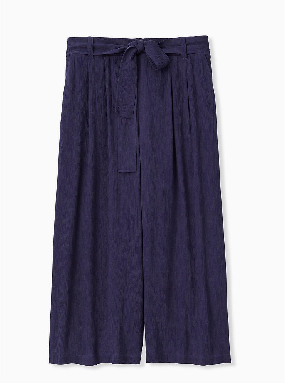Navy Crinkle Gauze Self Tie Culotte Pant, PEACOAT, hi-res
