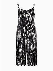 Plus Size Super Soft Black Tie-Dye Culotte Jumpsuit, TIE DYE STRIPE, alternate