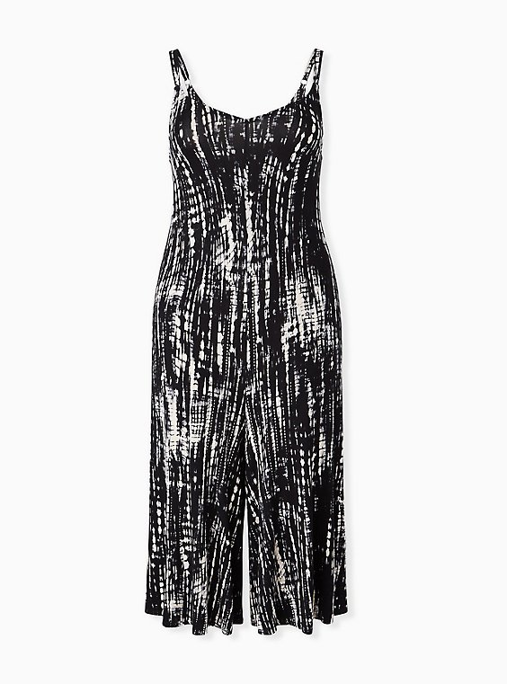 Plus Size Super Soft Black Tie-Dye Culotte Jumpsuit, , hi-res