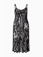 Plus Size Super Soft Black Tie-Dye Culotte Jumpsuit, TIE DYE STRIPE, hi-res