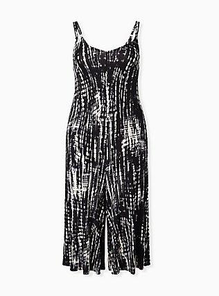 Super Soft Black Tie-Dye Culotte Jumpsuit, TIE DYE STRIPE, hi-res