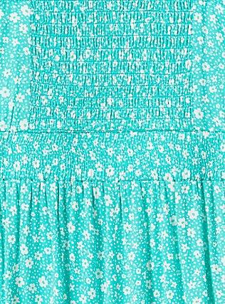 Plus Size Turquoise Floral Challis Romper, STRIPE - BLUE, alternate