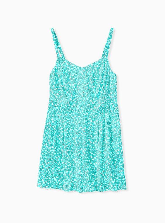 Plus Size Turquoise Floral Challis Romper, , hi-res