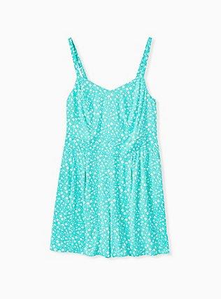 Plus Size Turquoise Floral Challis Romper, STRIPE - BLUE, hi-res