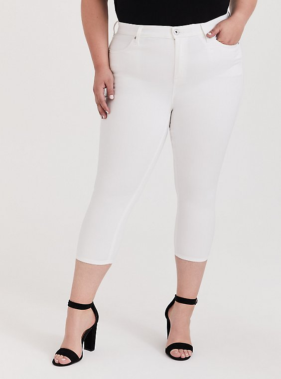 Plus Size Crop Sky High Skinny Jean - Super Soft White, , hi-res