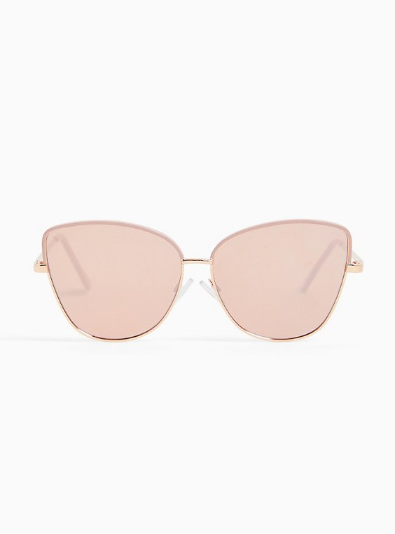 Rose Gold-Tone & Pink Metal Cat Eye Sunglasses, , hi-res