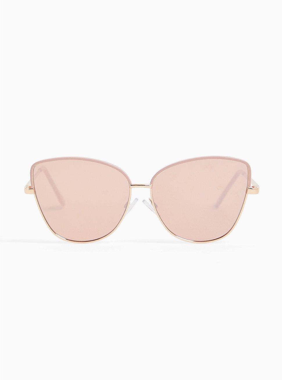 Rose Gold-Tone & Pink Metal Cat Eye Sunglasses, , hi-res