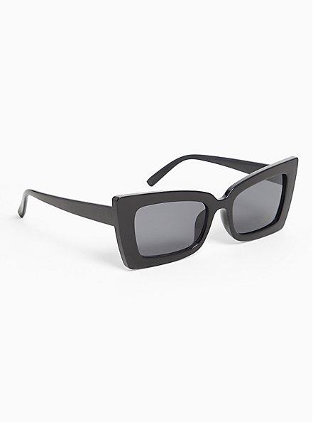 Plus Size Black Small Rectangle Sunglasses, , alternate
