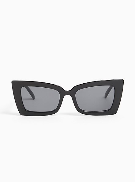 Plus Size Black Small Rectangle Sunglasses, , hi-res