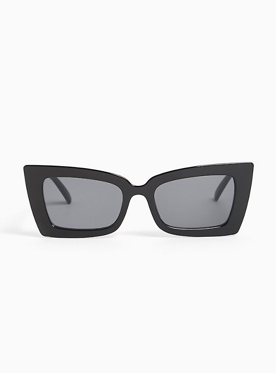 Plus Size Black Small Rectangle Sunglasses, , hi-res