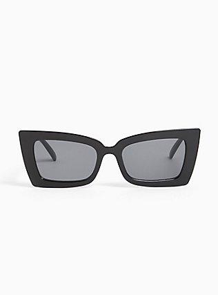 Black Small Rectangle Sunglasses, , hi-res