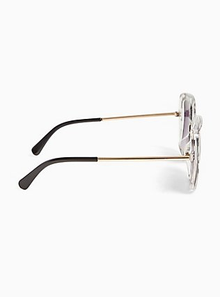 Black & White Geo Square Sunglasses, , alternate