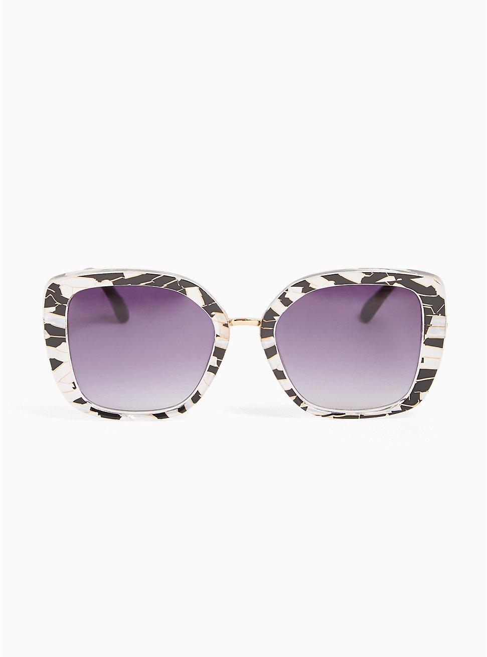 Black & White Geo Square Sunglasses, , hi-res