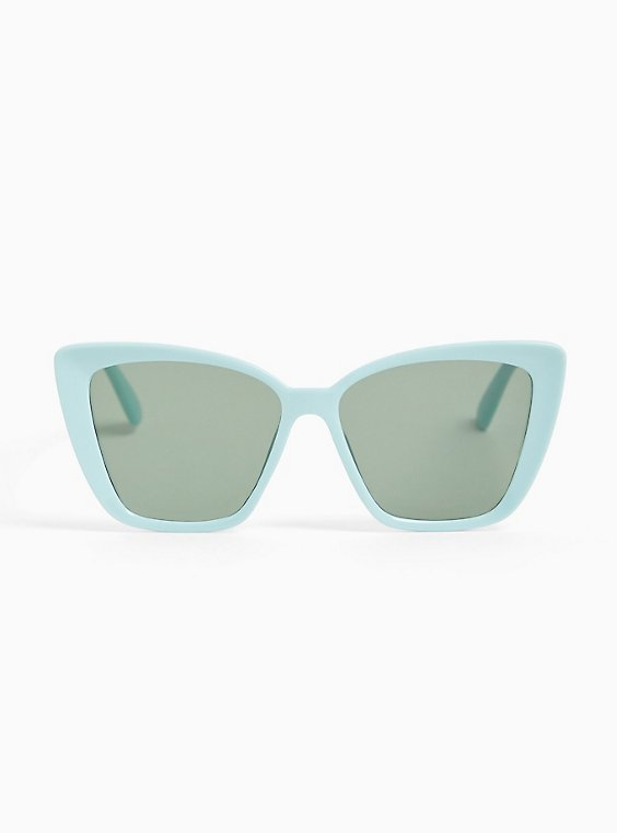 Plus Size Aqua Cat Eye Sunglasses, , hi-res