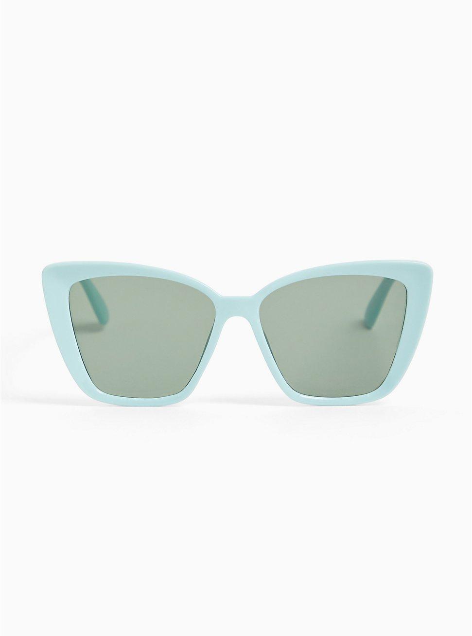 Plus Size Aqua Cat Eye Sunglasses, , hi-res