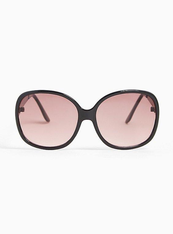 Black Square-Oval Rhinestone Sunglasses, , hi-res