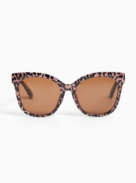 Pink Leopard Cat Eye Sunglasses, , hi-res