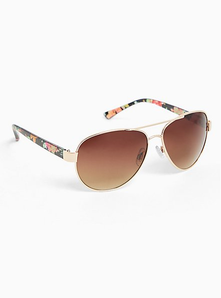 Plus Size Gold-Tone Metal & Floral Temple Aviator Sunglasses, , alternate