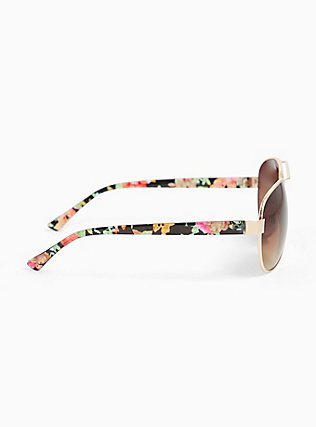 Gold-Tone Metal & Floral Temple Aviator Sunglasses, , alternate
