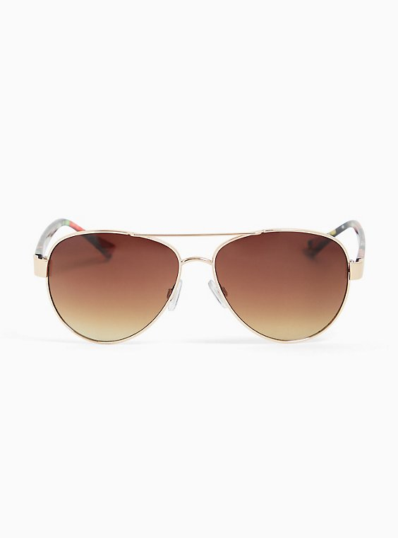 Plus Size Gold-Tone Metal & Floral Temple Aviator Sunglasses, , hi-res