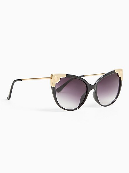 Black & Gold-Tone Corner Cat Eye Sunglasses, , alternate