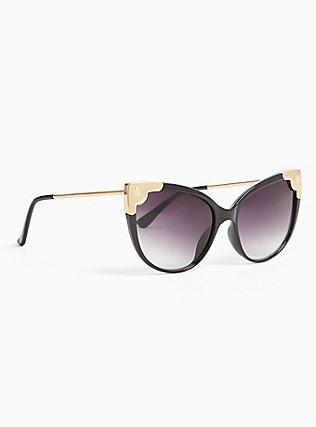 Black Cutout Infinity Sunglasses, , alternate
