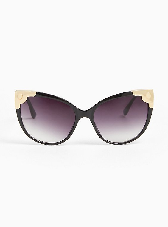 Plus Size Black Cutout Infinity Sunglasses, , hi-res