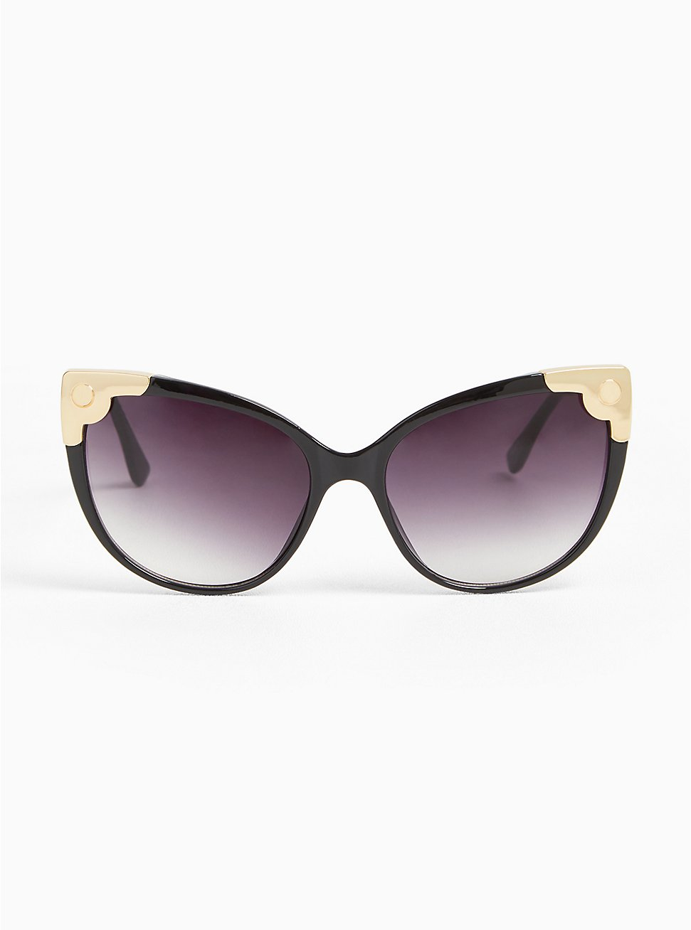 Black & Gold-Tone Corner Cat Eye Sunglasses, , hi-res