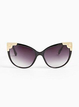Black Cutout Infinity Sunglasses, , hi-res