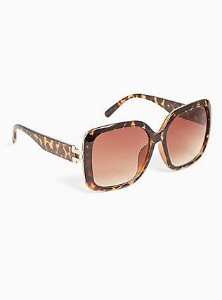Tortoiseshell Oversized Square Sunglasses, , alternate
