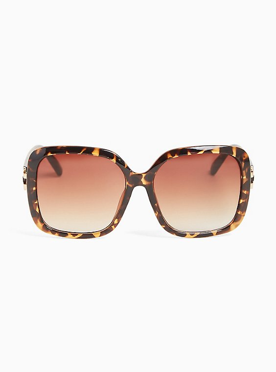 Plus Size Tortoiseshell Oversized Square Sunglasses, , hi-res