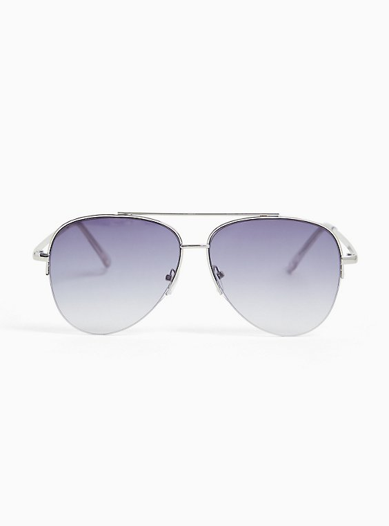 Plus Size Silver-Tone Aviator Sunglasses, , hi-res