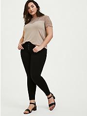 Sky High Skinny Jean - Premium Stretch Black with Raw Hem, BLACK, alternate