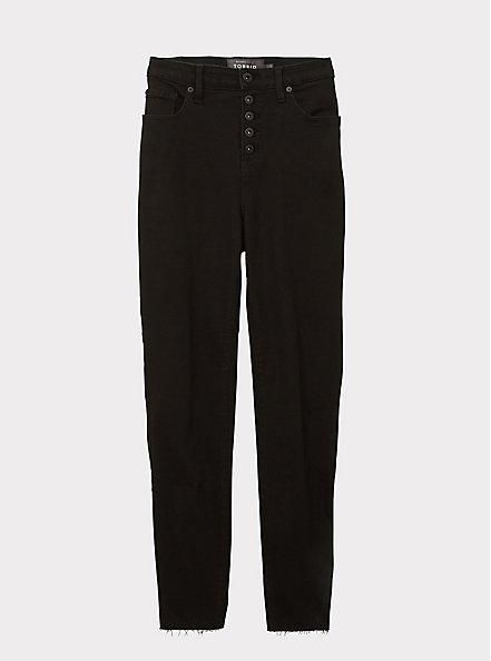 Sky High Skinny Jean - Premium Stretch Black with Raw Hem, BLACK, hi-res