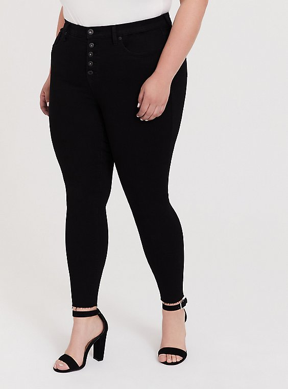 Plus Size Sky High Skinny Jean - Premium Stretch Black with Raw Hem, , hi-res