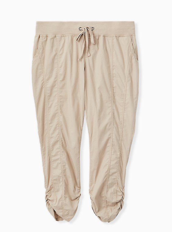 Tan Poplin Crop Pant, , hi-res