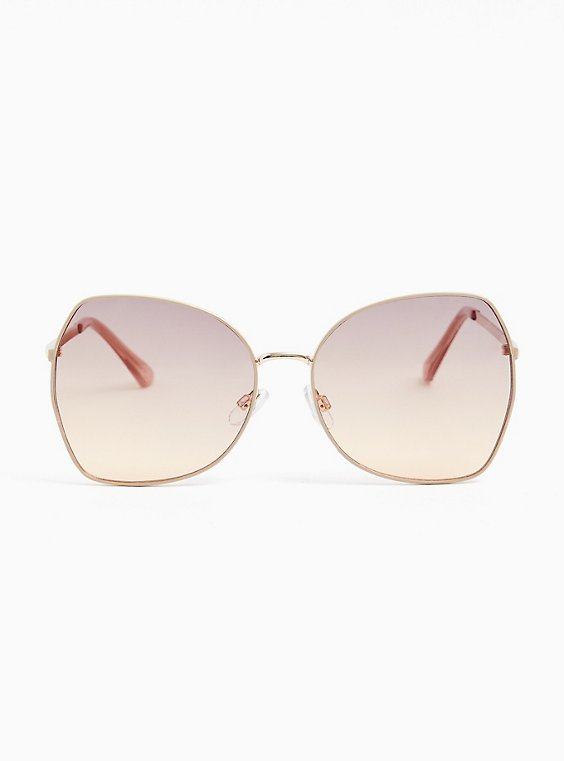 Gold-Tone Square Butterfly Sunglasses, , hi-res