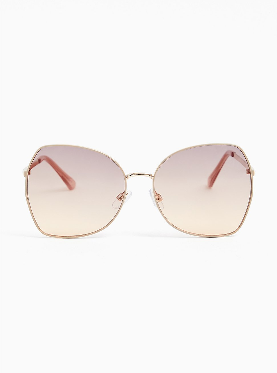Plus Size Gold-Tone Square Butterfly Sunglasses, , hi-res