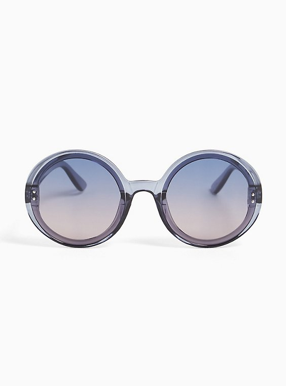 Plus Size Grey Ombre Round Sunglasses, , hi-res