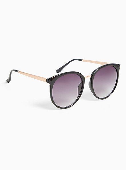 Plus Size Black Rounded Cat Eye Sunglasses, , alternate
