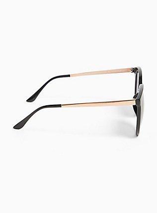 Black Rounded Cat Eye Sunglasses, , alternate