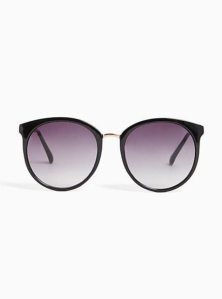 Plus Size Black Rounded Cat Eye Sunglasses, , hi-res