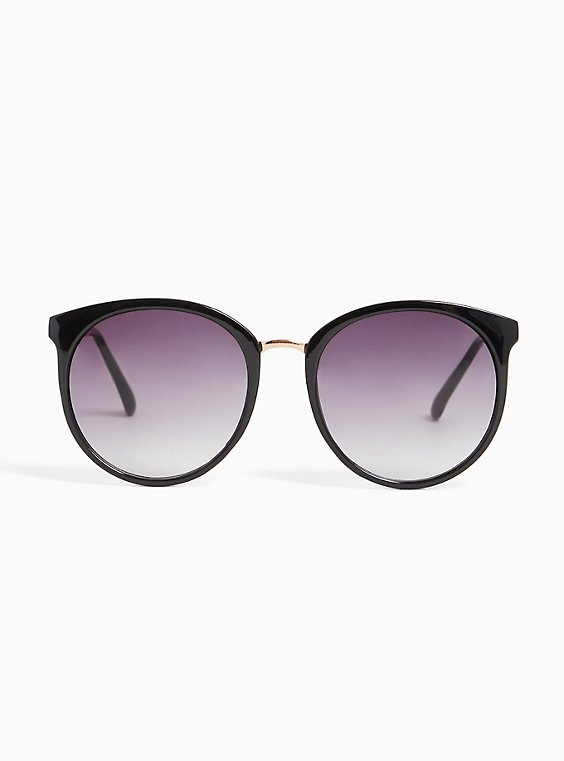 Plus Size Black Rounded Cat Eye Sunglasses, , hi-res